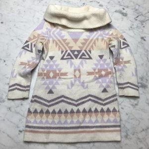 baby Gap Cowl Neck Aztec Print Long Sleeve Dress